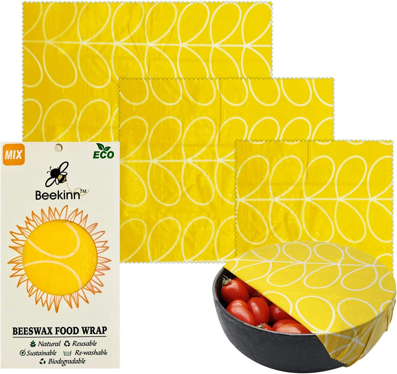 Beekinn Beeswax Food wrap - 3 pack, organic wraps-natural & eco friendly,100% organic cotton, alternative to plastic, Reusable food Wraps, perfect Food Storage-Set of 3 Sizes-S, M, L (yellow abstract)