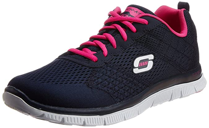 Skechers Flex Appeal Obvious Choice Navy Pink White Womens