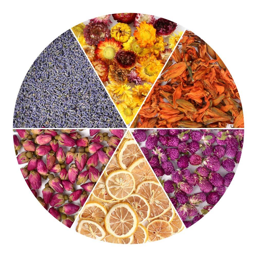 HAIOPS Dried Flowers Soap Making Scents Kits Rosebuds, Lavender, Lemon Slice, Lily, Gomphrena Globosa Linn, Strawflower, 6 Bags by HAIOPS