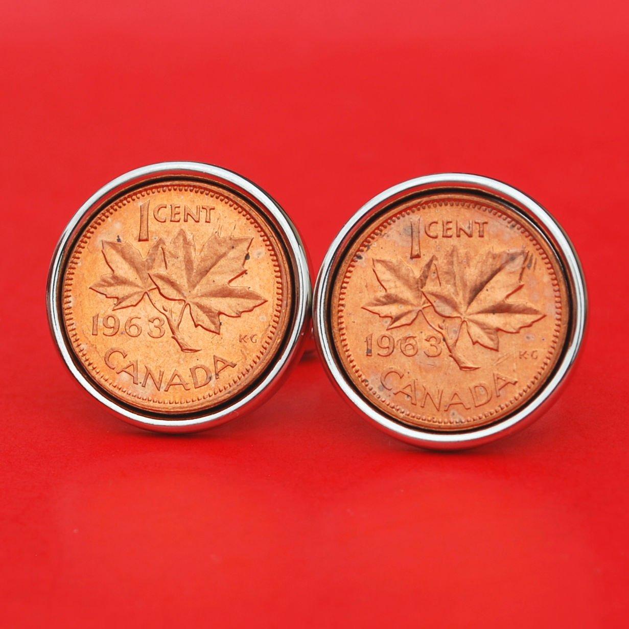 1963 Canada One Cent BU Uncirculated Coin Cufflinks NEW - Maple Leaf