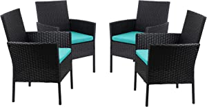 Walsunny 4 Pieces Indoor Outdoor Wicker Dining Set Furniture,Porch Patio Bistro Sets with Blue Cushions