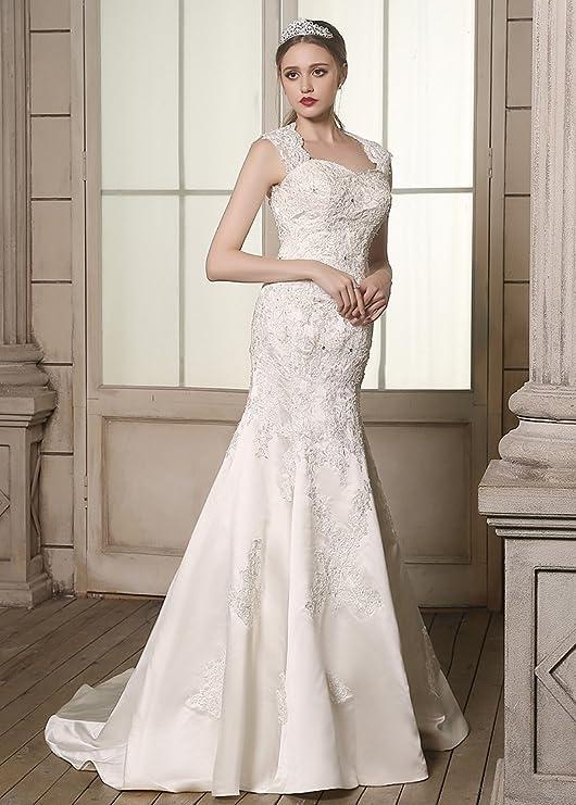 Adasbridal-Romanticos vestidos de novia de raso de escote Queen Anne de encaje apliques de sirena: Amazon.es: Ropa y accesorios