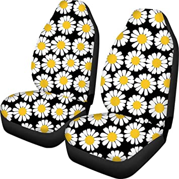 chaqlin Daisy Print Car Steering Wheel Cover 2 Pack Seatbelt Cover for Women Ladies Fashion Auto Accessories Full Set of 3 Pieces