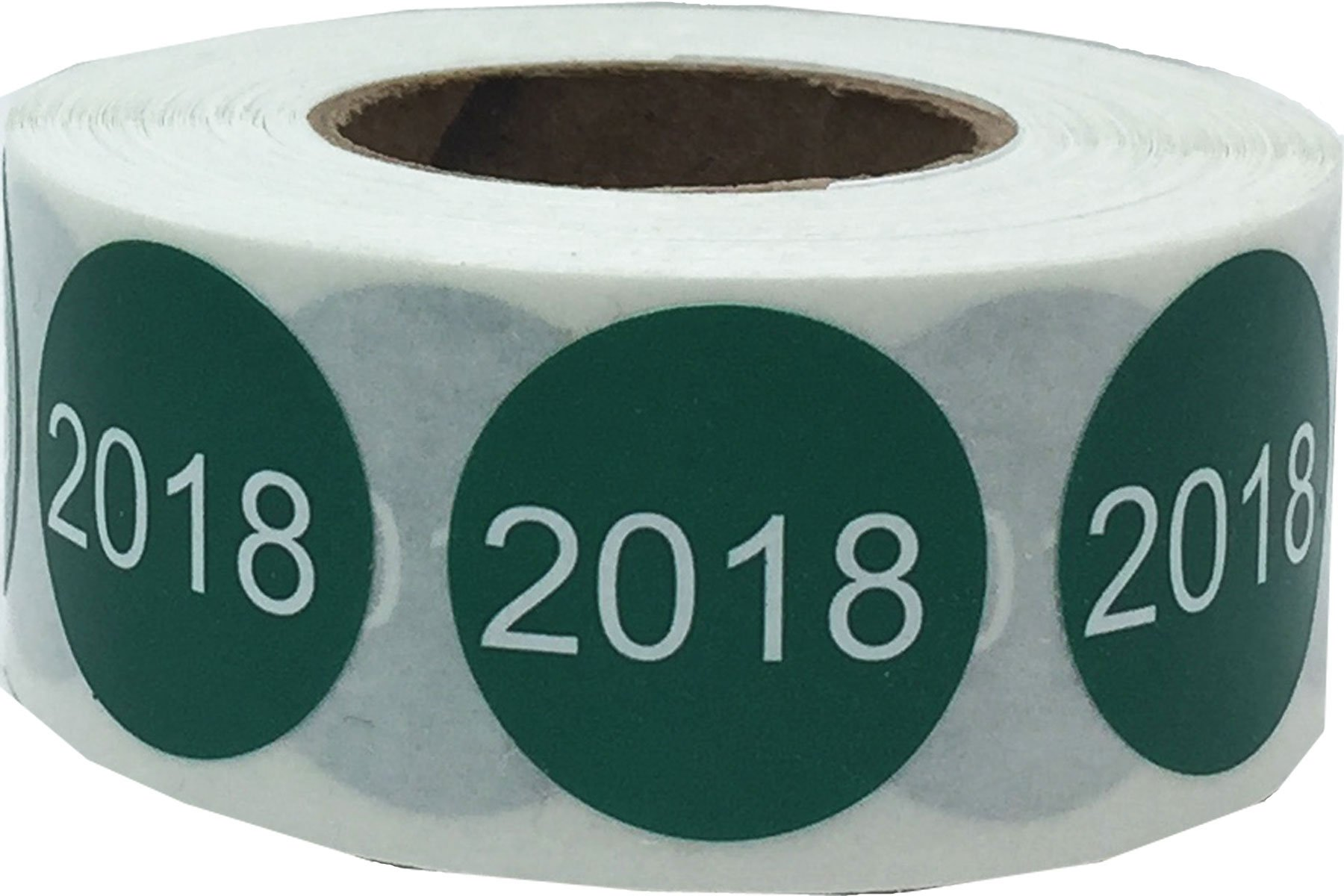 Green 2018 Circle Dot Stickers, 3/4 Inch Round, 500 Labels on a Roll