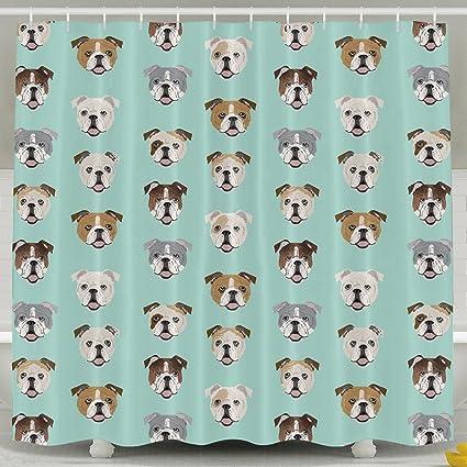 Stupid Funny English Bulldog Bath Shower Curtain Fabric Bathroom Set With Hooks