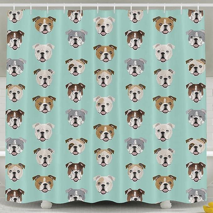 Stupid Funny English Bulldog Bath Shower Curtain Fabric Bathroom Set Hooks Cuffe