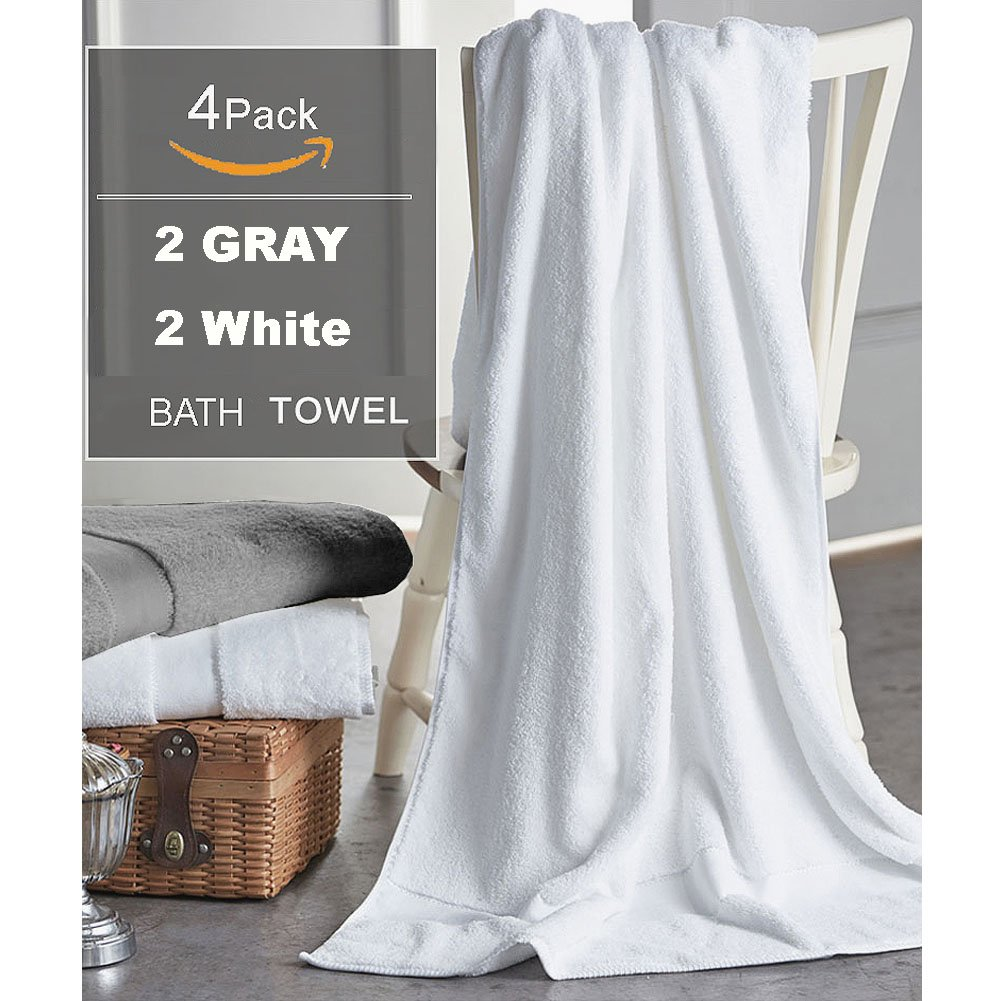 Cotton Bath Towels Sheets for 4 Pack, 31x59 Inches Hotel Bath Sheet Sets, Soft Thick and Absorbency, Easy Care, Professional Grade Spa Towels for Home, 2 White and 2 Gray