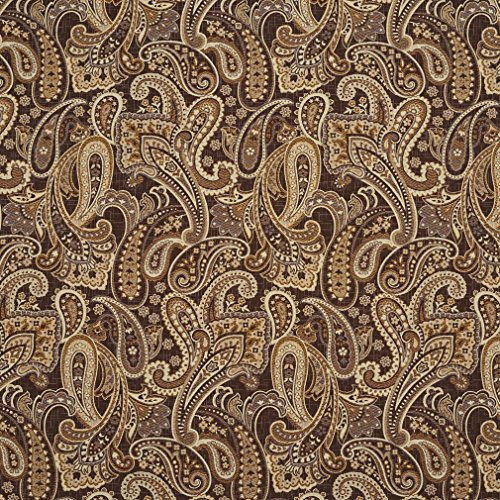 E713 Brown and Brass Woven Paisley Upholstery Fabric by The Yard ()