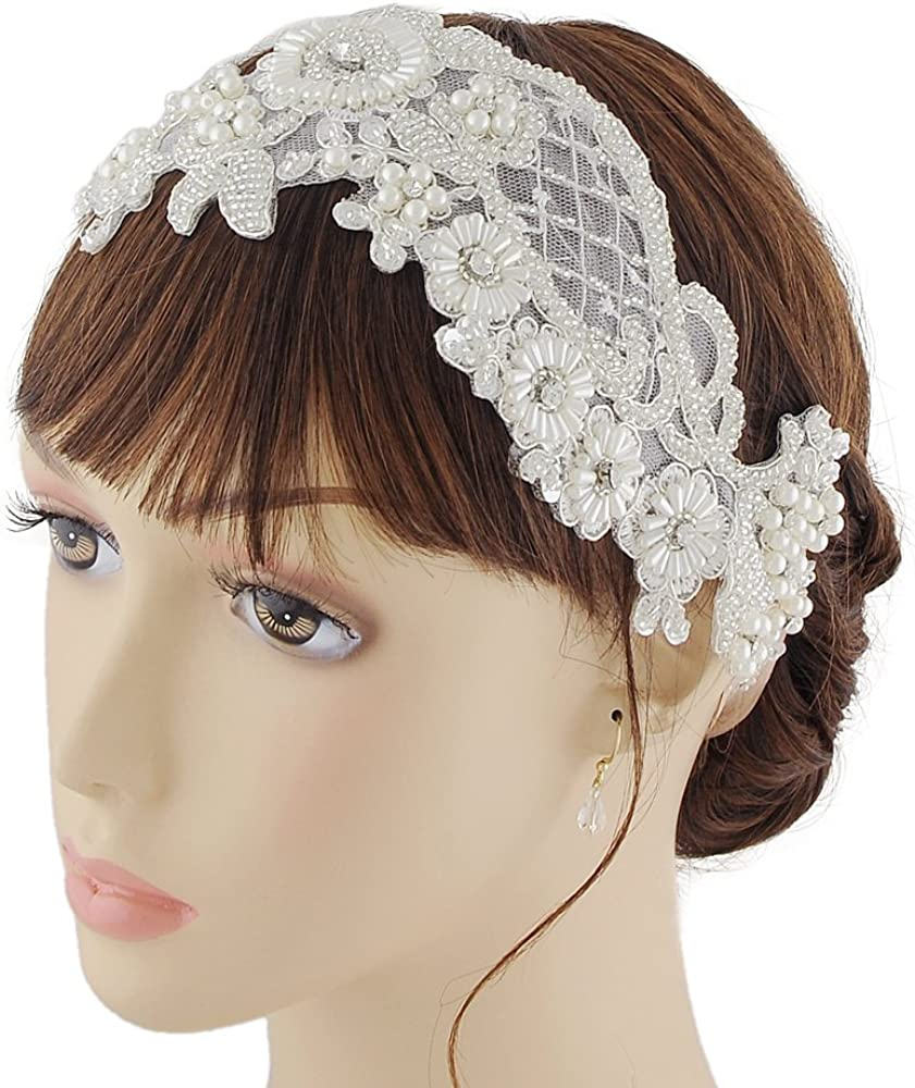 ULAPAN Wedding Hair Piece Wedding Hairband Pearls Bridal Hair Piece Hairband Pearls Wedding Headband,SJD-H91