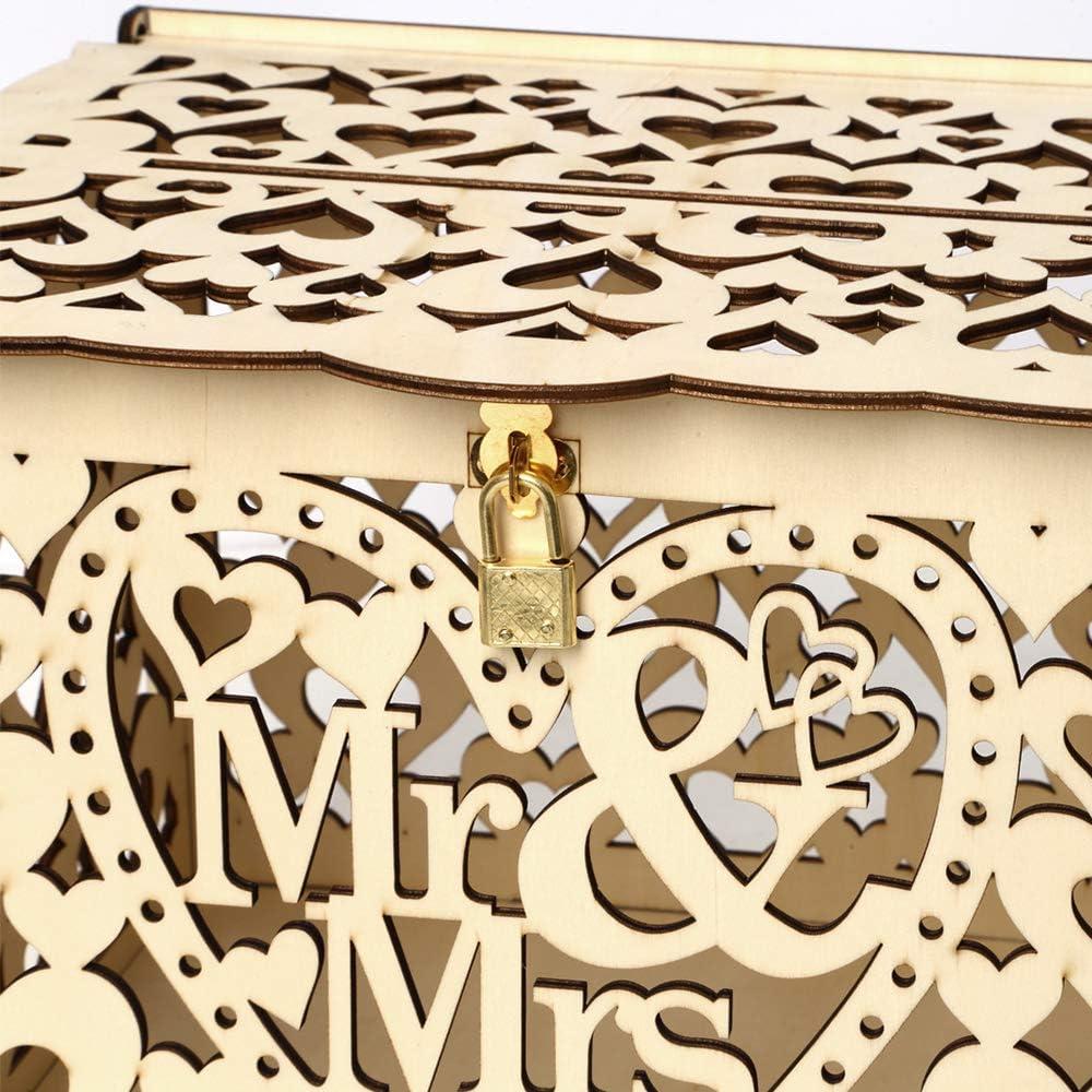 Fesjoy Bo/îte /à Cartes de Mariage avec Serrure Porte-Carte en Bois Rustique avec Porte-Cartes pour r/éception de Mariage f/ête de f/ête de Naissance