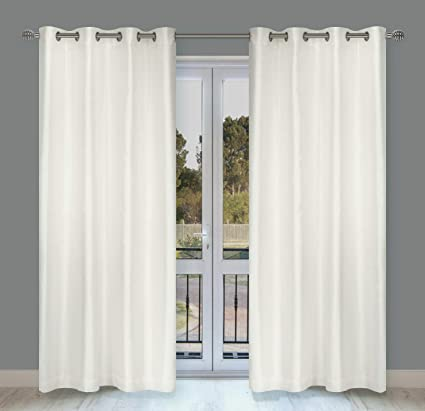 Cream Eyelet Curtains Plain Textured Woven Ready Made Ring Top Curtain Pairs
