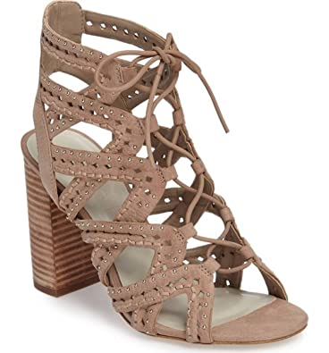 57da0e23a70 STATE Kayley Stone Nude Suede Caged Studded Lace up Block Heel Open Toe  Sandal