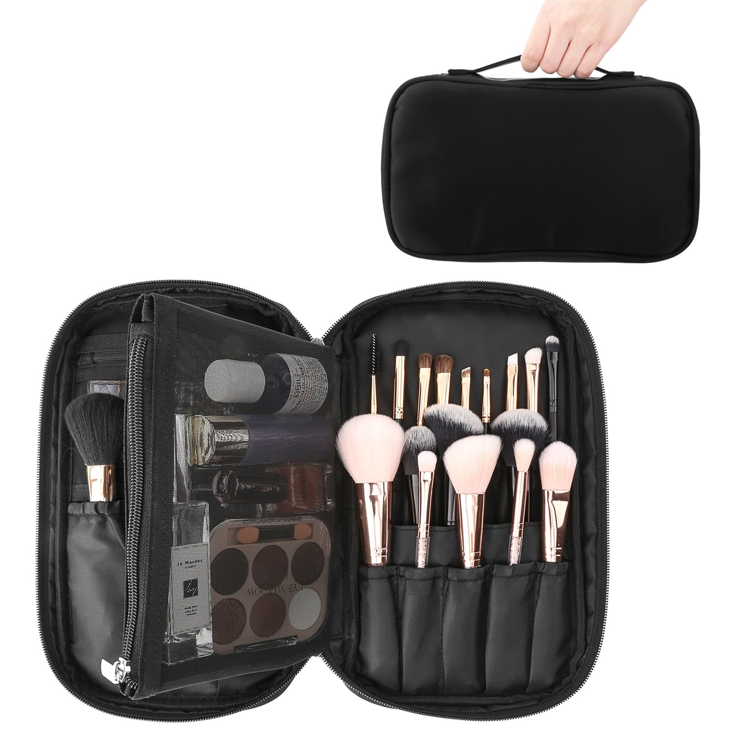 Luxspire Cosmetic Case Makeup Brush Organizer, Professional Cosmetic Bag Storage Case Box Make up Handbag Train Case Travel Storage Bag Toiletry Organizer Tool with Belt Strap, Black