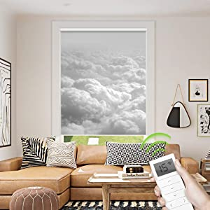 Motorized Blackout Roller Shade, Custom Window Blinds Cloud Printed, Remote Control Wireless and Rechargeable, Decorative Electric Shade for Home Office