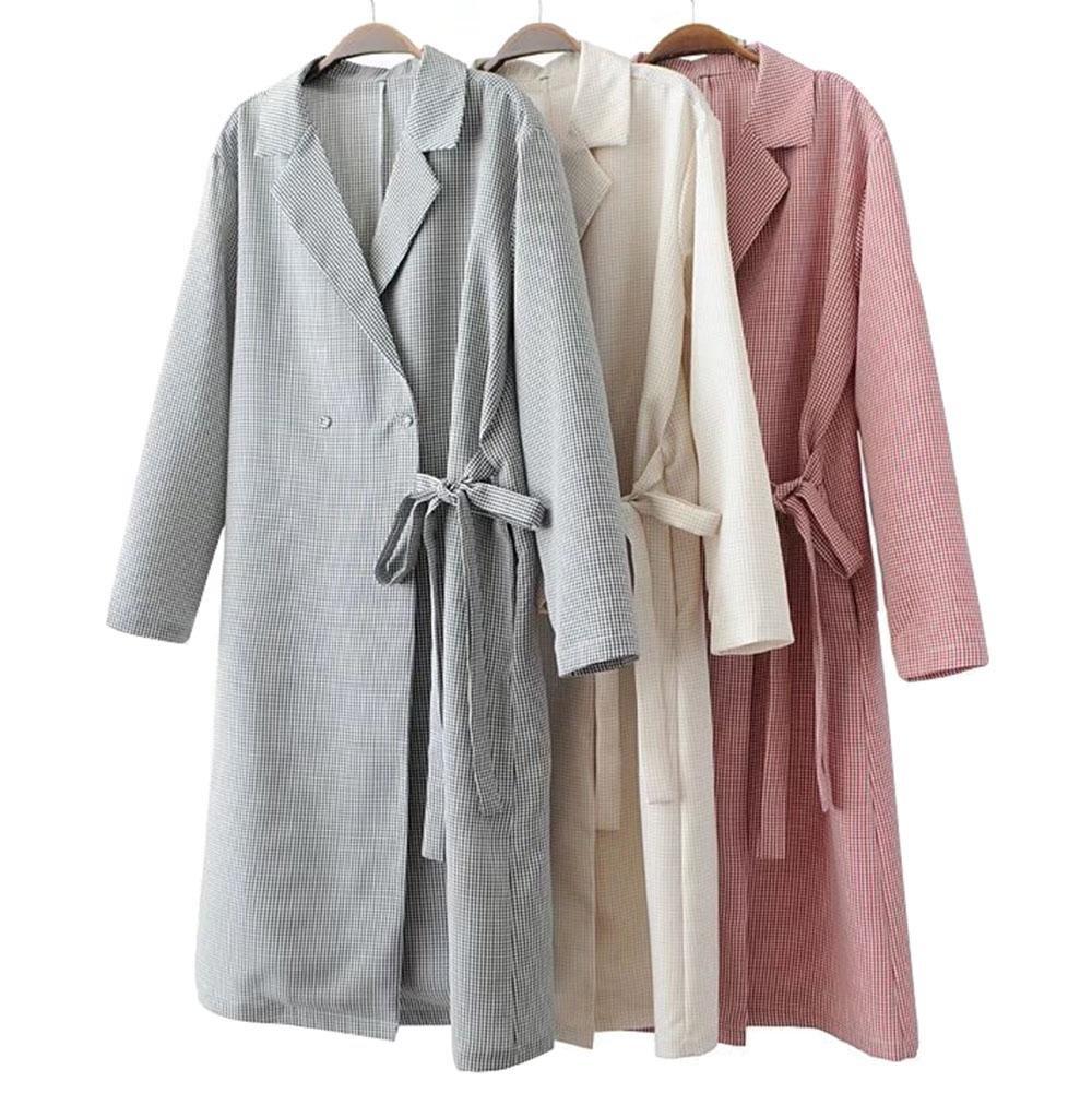 ZFANG Camicia per donna Camicia per abito casual Lacy Tie Plaid Maglietta a maniche lunghe