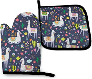ZOISOKA 1 Cotton Kitchen Oven Mitt Gloves 11 x 7.5 and 1 Potholder 8 x 8 Kitchen Gift Set, Machine Washable and Heat Resistant for Safe BBQ,Cooking, Baking, Grilling, Alpaca