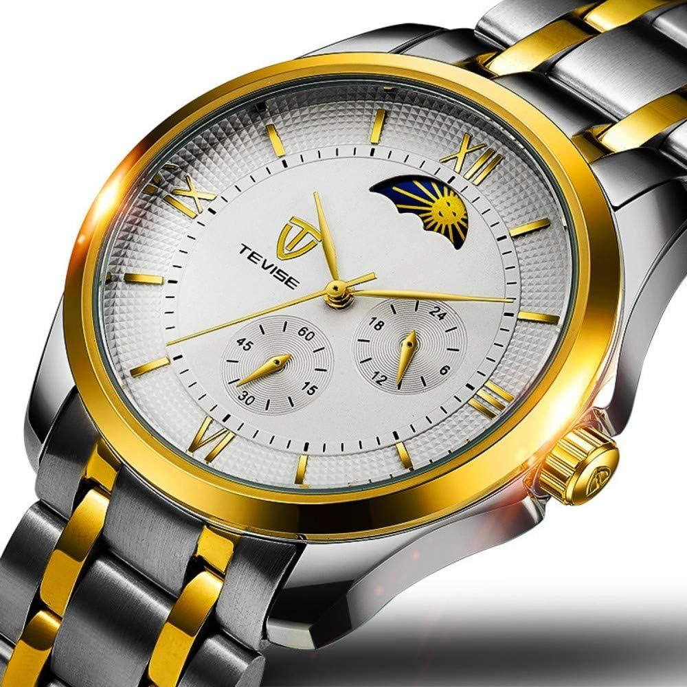 Orologi Da Polso,Orologio Da Uomo Automatico Multi-Funzione Lunare Impermeabile Sport Creativo Personalità Creativa Moda Orologio Casual F