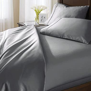 Lionora Lavish 1000 Thread Count Italian Finish 100% Egyptian Cotton 4-Piece Bed Sheet Set, Fits Mattress Up to 21 inches Deep Pocket, Solid Pattern (Color - Silver Grey, Size - King).