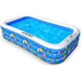 "AOKIWO Family Swimming Pool, 121"" X 71"" X 21"" Full-Sized Inflatable Lounge Pool Kiddie Pool for Kids, Adults, Infant…"