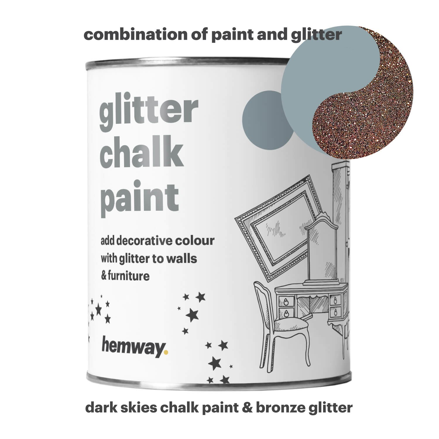 Hemway Dark Skies Chalk Paint (with Bronze Glitter) Sparkle Matt finish Wall and Furniture Paint 1L/35oz Shabby Chic Vintage Chalky Crystal (25 Glittery Colours Available)