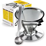 Housewares Solutions Stainless Steel Pour Over Coffee Dripper + Bonus Coffee Scoop With Built In Bag Clip