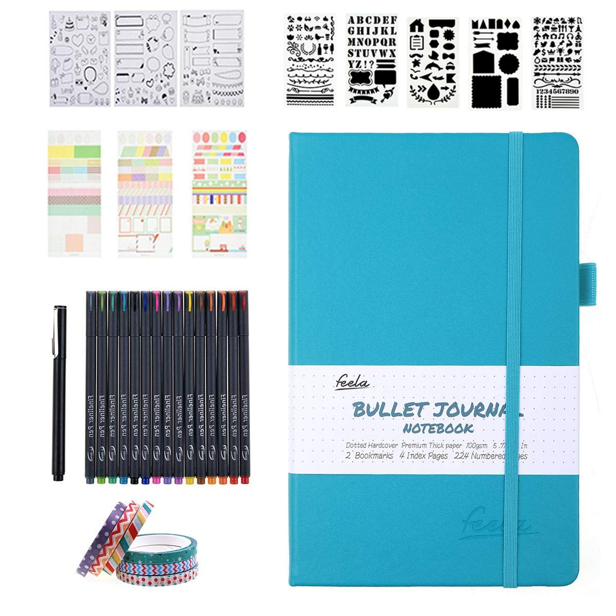 Bullet Dotted Journal Kit,Feela A5 Dotted Bullet Grid Journal Set with a 224 Pages Teal Notebook,Fineliner Pens,Reusable Stencils,Sticker Sheet,Washi Tape,Black BallPen for Diary,Schedule Plan,Drawin