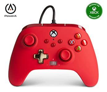 PowerA Enhanced Wired Controller for Xbox - Red, Gamepad, Wired Video Game Controller, Gaming Controller, Xbox Series X S, Xbox One - Xbox Series X