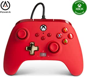 PowerA Enhanced Wired Controller for Xbox - Red, Gamepad, Wired Video Game Controller, Gaming Controller, Xbox Series X|S, Xbox One - Xbox Series X