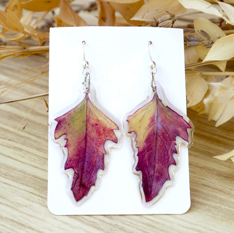 Pendientes hojas multicolor en resina. Hojas naturales. Joyas con alma.: Amazon.es: Handmade