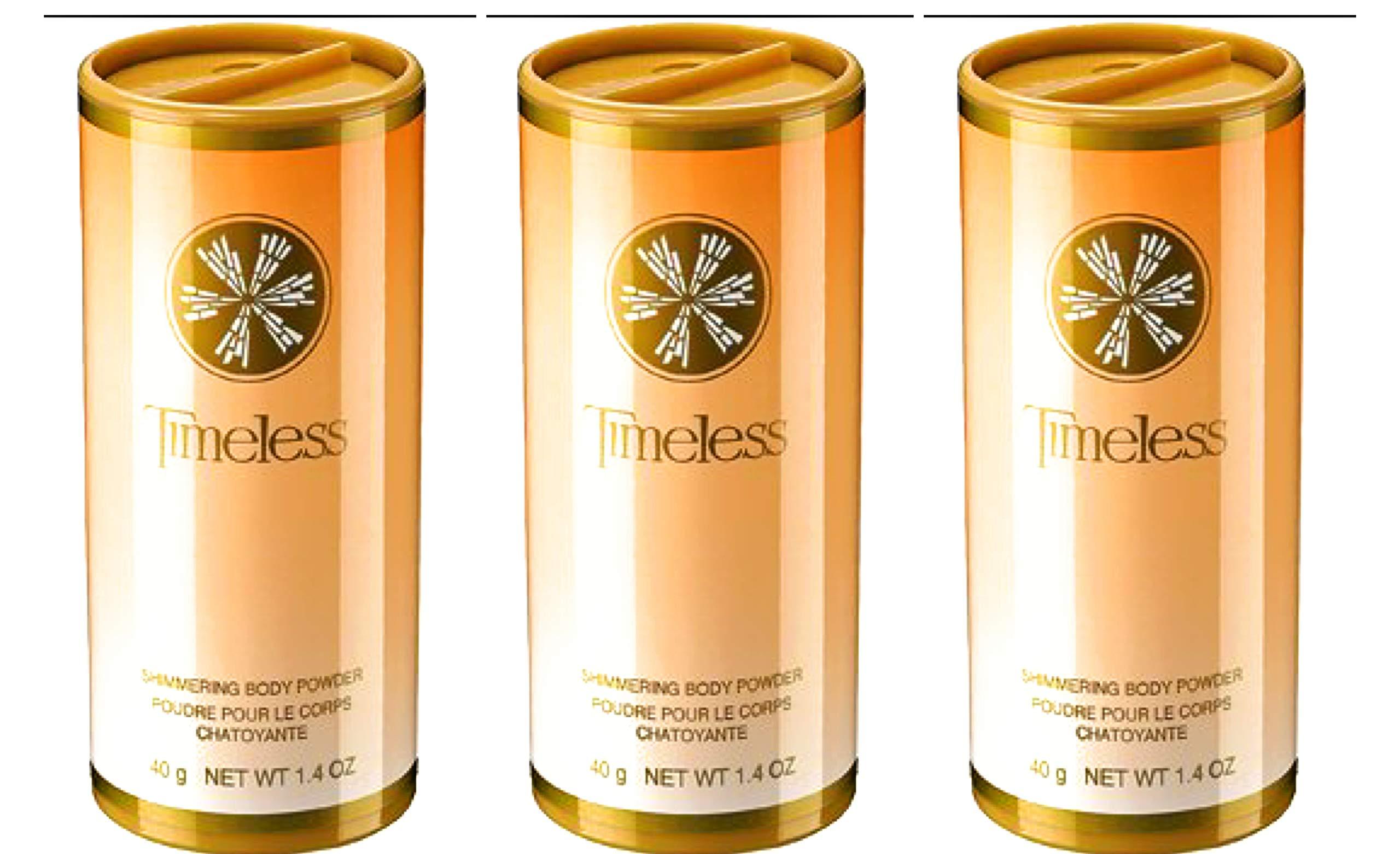 Avon TIMELESS Shimmering body powder Talc 1.4 oz each LOT OF 3