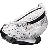 White & Silver Sequin Fabric Bum Bag / Fanny Pack - Festivals /Club Wear/ Holiday Wear