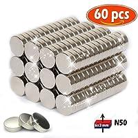 Magnete al neodimio Disco in magnete al neodimio 6 x 3 mm super forte adatto a usare a parete (60 pezzi)