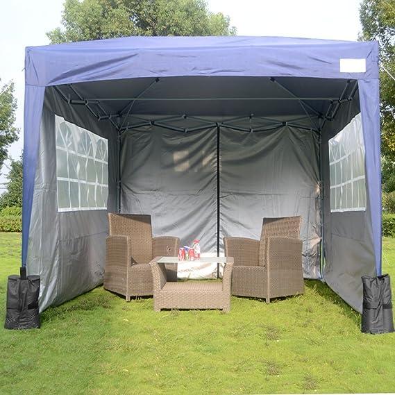 3 m x 3 m 4 lados Pop Up Gazebo carpa de jardín resistente al agua diseño en color azul con saco de transporte incluye: Amazon.es: Jardín