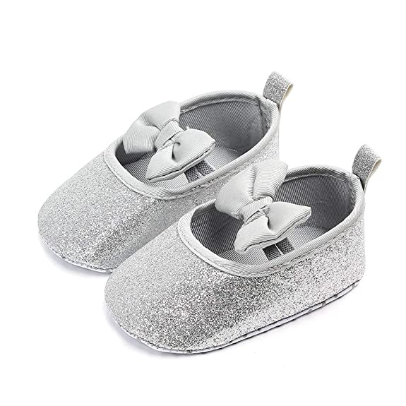 Baby Girl Shoes Soft Baby 🎀 Lentejuelas Elegantes Bowknot Zapatos cómodos Suelas Antideslizantes 12 - Zapatos Princess, Zapatos First Steps - Zapatos de ...