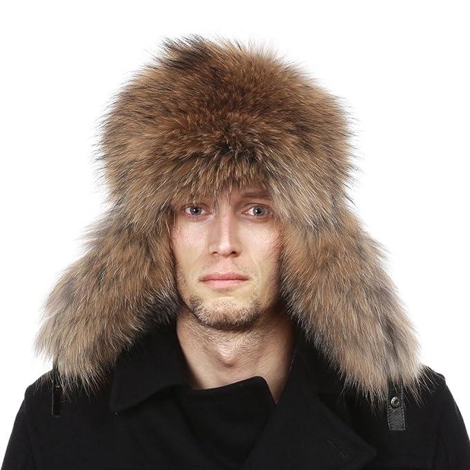 Cappello per Uomo in Pelliccia di Procione Cappello Invernale Stile Russo  con Top in Vera Pelle 7dddacd49f1b