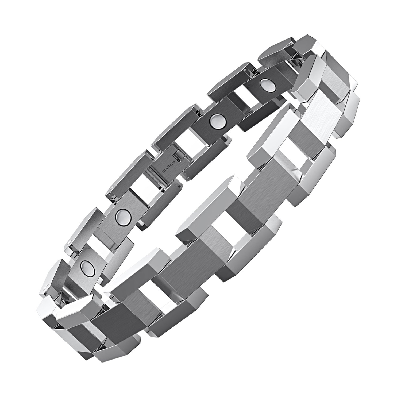 COOLMAN Titanium Magnetic Bracelet Adjustable Therapy Bracelet with Link Removal Tool (Sliver)
