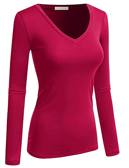 Amazon.com  Active Basic Women Plain Basic Cotton Blend Deep V Neck Long  Sleeve T Shirt 26986e35a