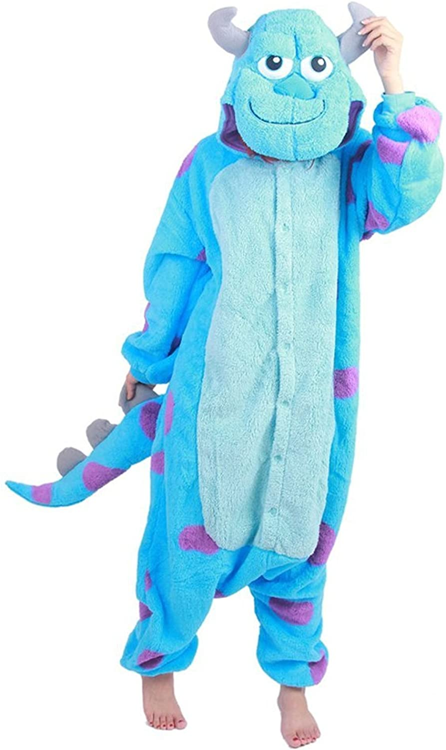 Amazon Com Hallowitch Monster Inc Sulley Onesie Costume For Adults Men Women And Teens Clothing