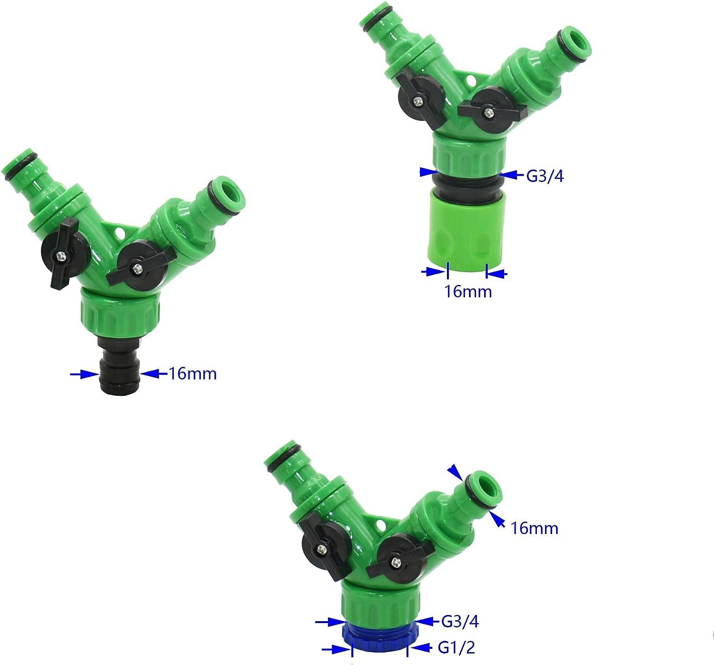 JINAN Y Garden Tap Water Splitter 2-way Irrigation Valve Female 1/2 3/4 Garden Hose Splitter Watering Adjustable Switch 15pcs (Color : C) A