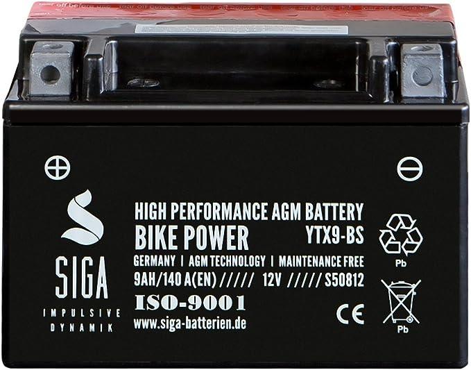 Langzeit AGM Roller Batterie 9AH 190A//EN 12V YTX9-BS Motorrad Quad Batterie