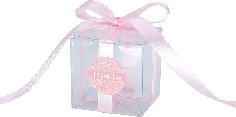 Gechtas 20Pcs PET Crystal Clear Cube Favor Boxes, 2