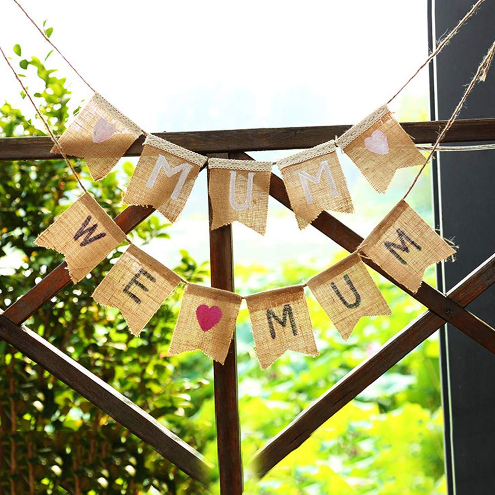 Emvanv We Love Mom Mothers Day Banner Paper Bunting Garland Party Home Hanging Decoration DIY Crafts Streamers Banners Streamers Confetti Love Decor Paper Baby Lette Streamers Confetti