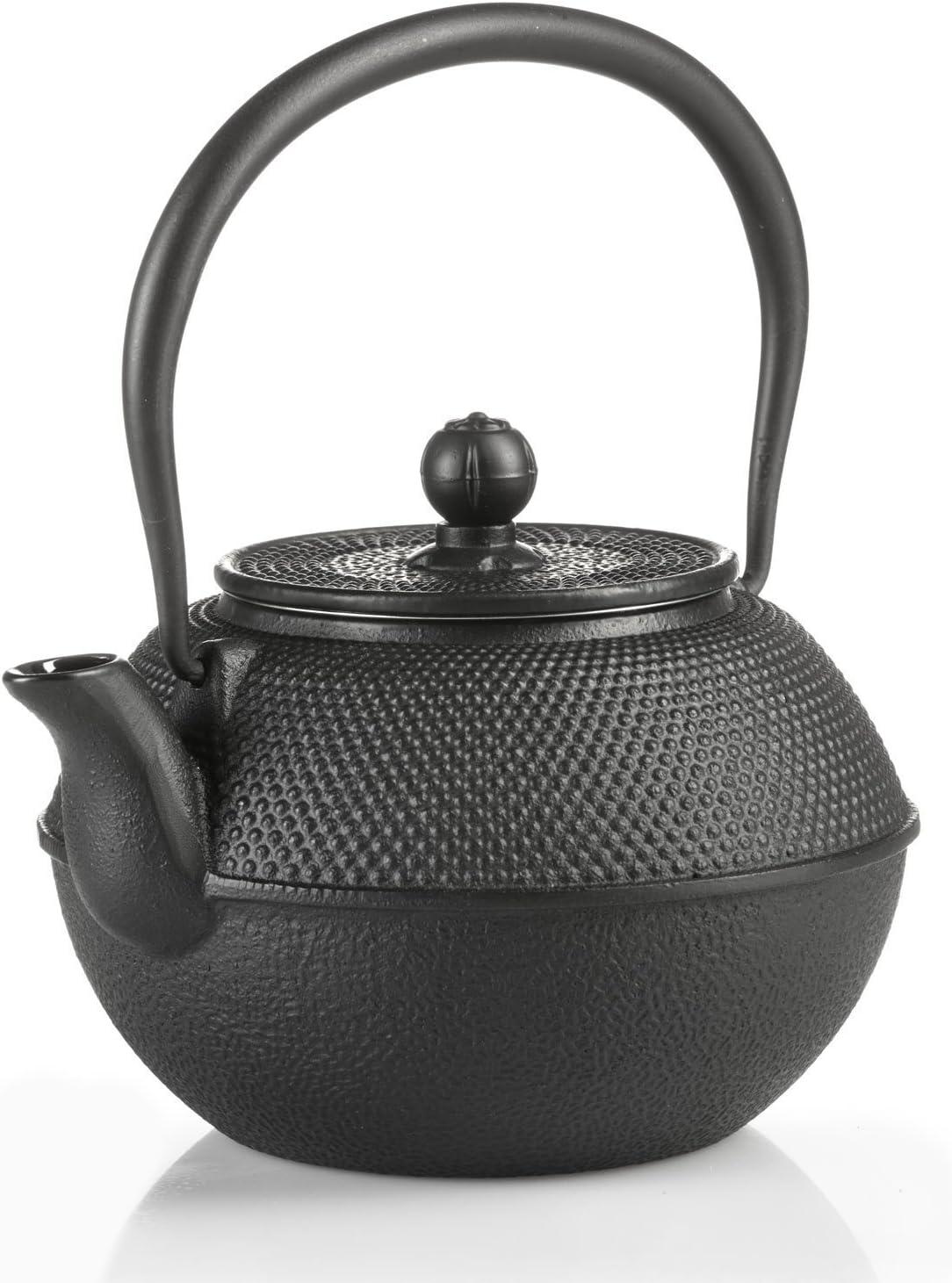 Dimono - Tetera de hierro fundido, hierro fundido, negro, Teekanne 1300ml