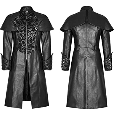 Punk Rave Mens Gothic Steampunk Jacket Coat Victorian Military Style Damask Winter Classic Leather Trench