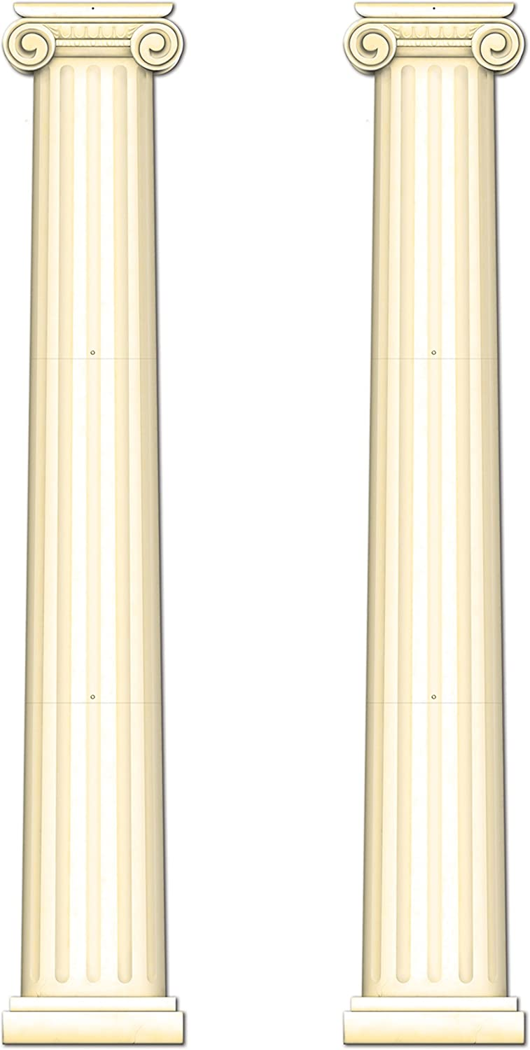 Beistle S54486AZ2 Jointed Column Pull-Down Cutout 2 Piece, Off-white