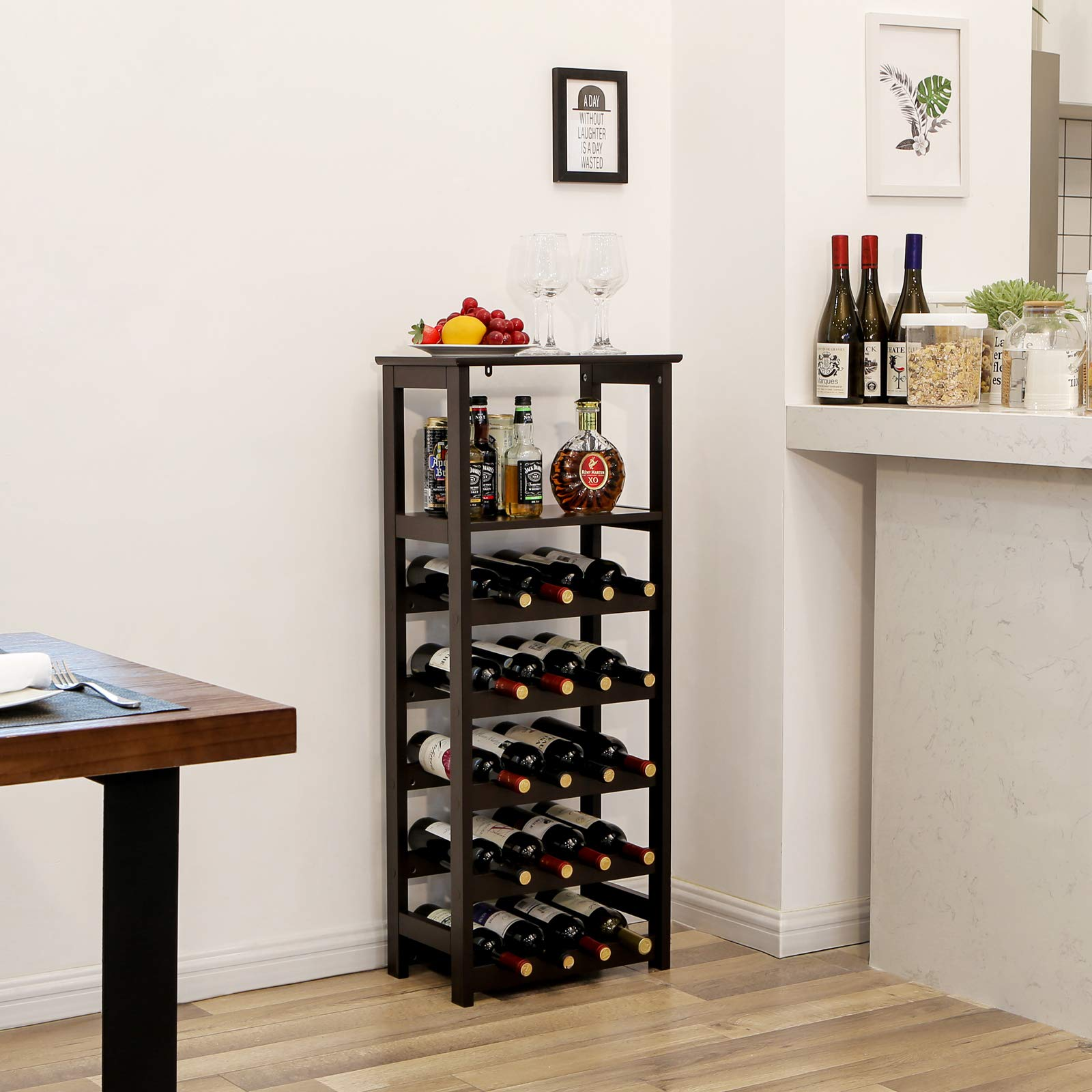 VASAGLE 20 Wooden Wine Rack, Free Standing Bottles Display Storage Shelf, with 2 Slatted Shelves,18.4''L × 10.4''W × 42.9''H, Espresso ULWR03BR by VASAGLE (Image #3)