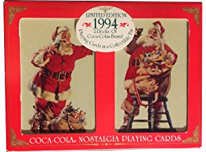 1994 Limited Edition Coca-Cola Nostalgia Christmas Santa Playing Cards in Collectible Tin