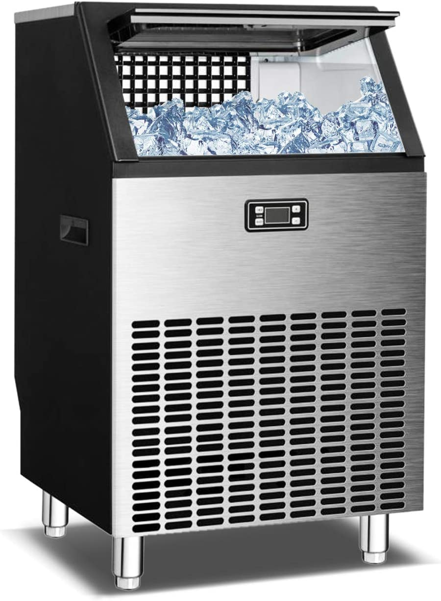 BOOSSIN Commercial Ice Maker Machine 200lbs/24Hrs with 48lbs Storage Capacity Convenience Automatic Cleaning Work Great for Applications in Many Occasions.