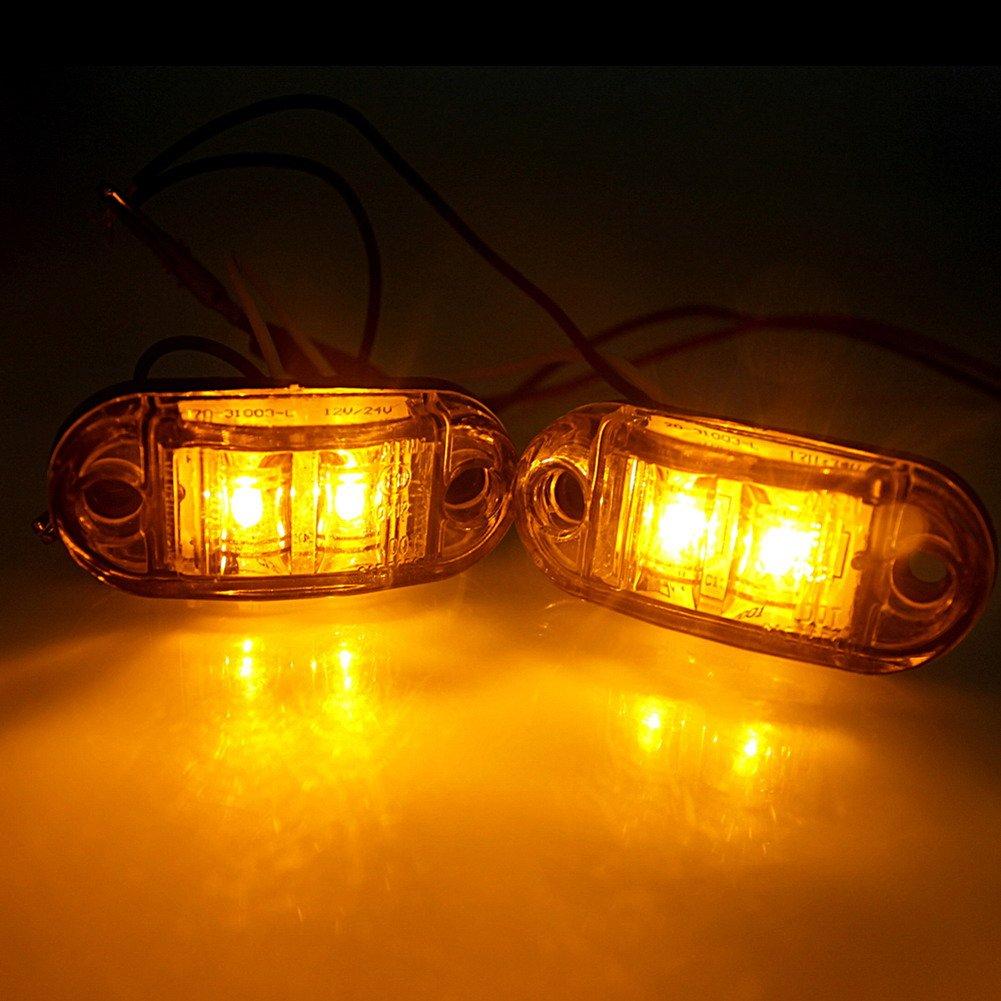 Fender luz LED luces de g/álibo remolque Focus az 4/x 2/lente 12/V//24/V Diodo LED Remolque Cami/ón Limpieza luz de marcador lateral Luz de g/álibo