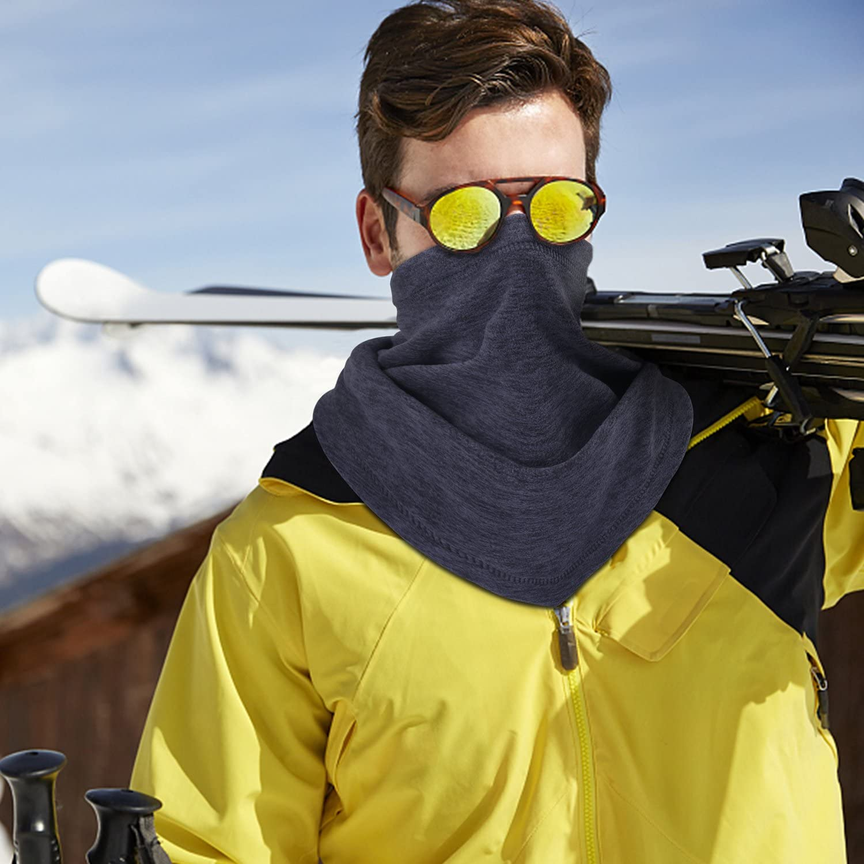 Thichen weiches elastisches Fleece Grey+ Blue LONGLONG Longong Halsw/ärmer Gamaschen f/ür den Winter Herren Skifahren One Size dick